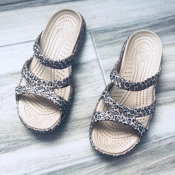 """391bd38ae85219 CROCS Shoes - CROCS """"Meleen"""" leopard print sandals sz  6"""